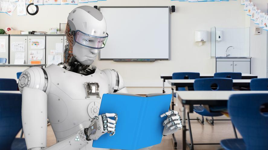 A robot with a book