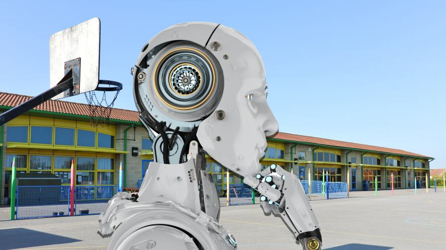 A robot in a playground