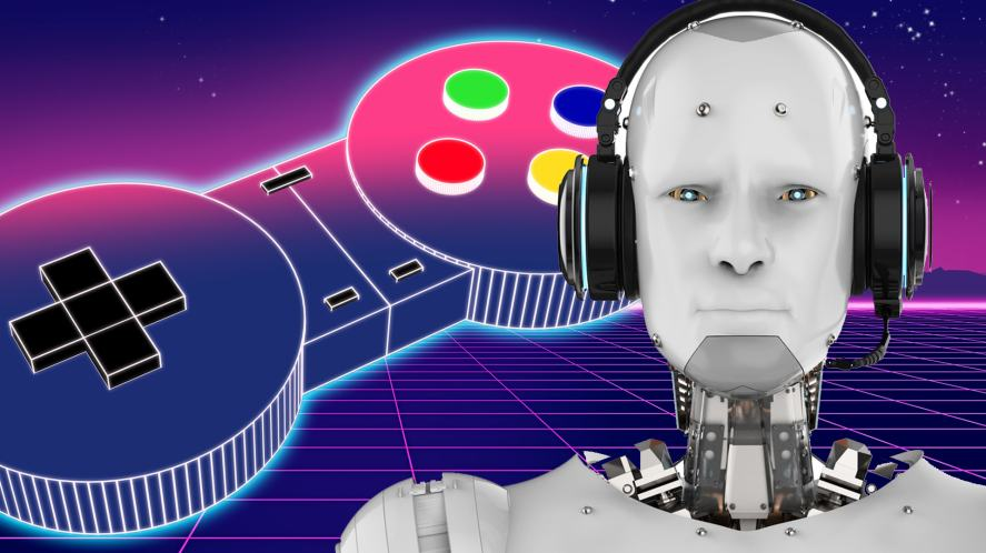 A robot standing in front of a video game background