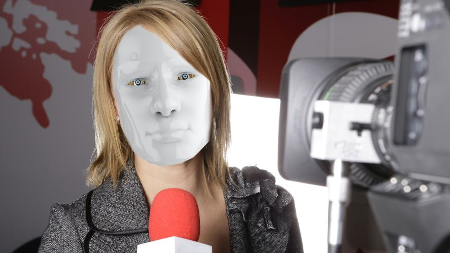 A poorly disguised robot TV reporter
