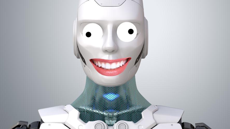 A robot with a odd grin