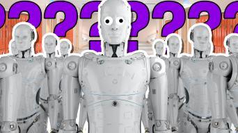 Robots in a school corridor – personality quiz
