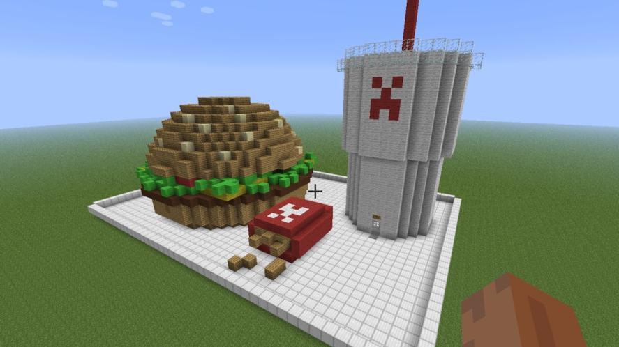 A Minecraft fast food tray