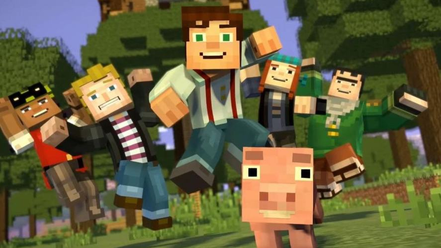 A Minecraft gang of friends and a little pig