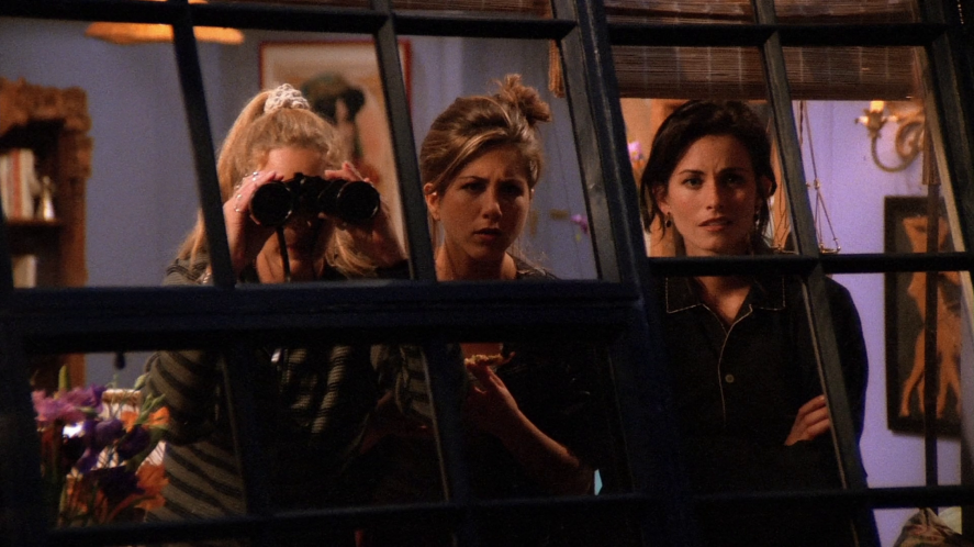 The cast of Friends use a pair of binoculars to spy on their neighbours | friends who said it quiz!