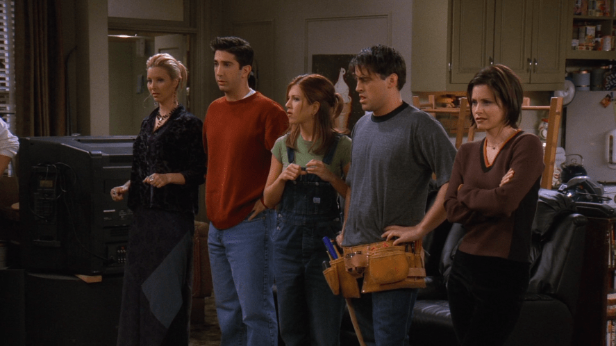 The cast of Friends look at Chandler and Joey's big bookcase | friends who said it quiz!