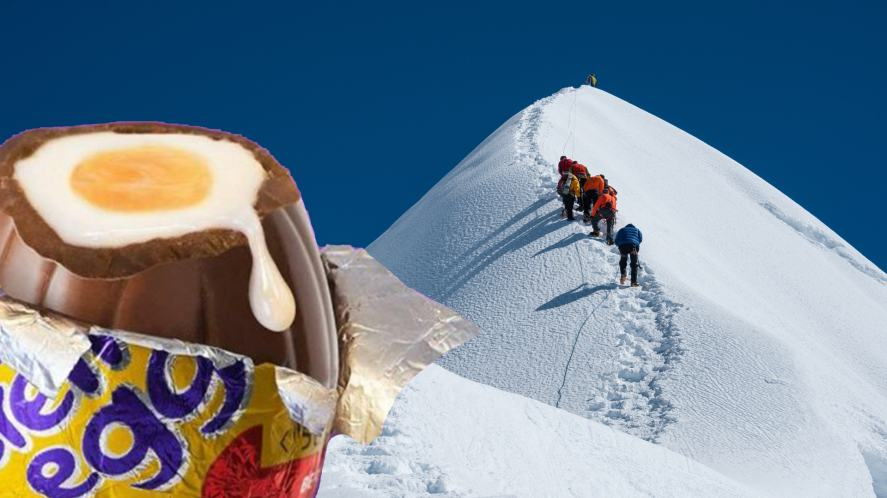 A massive Creme Egg and Mount Everest