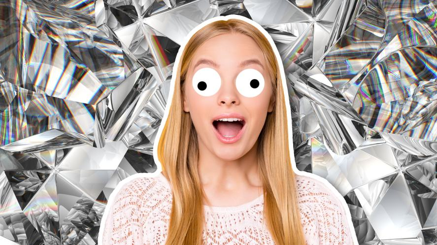 A woman looking shocked, with a background of a huge diamond