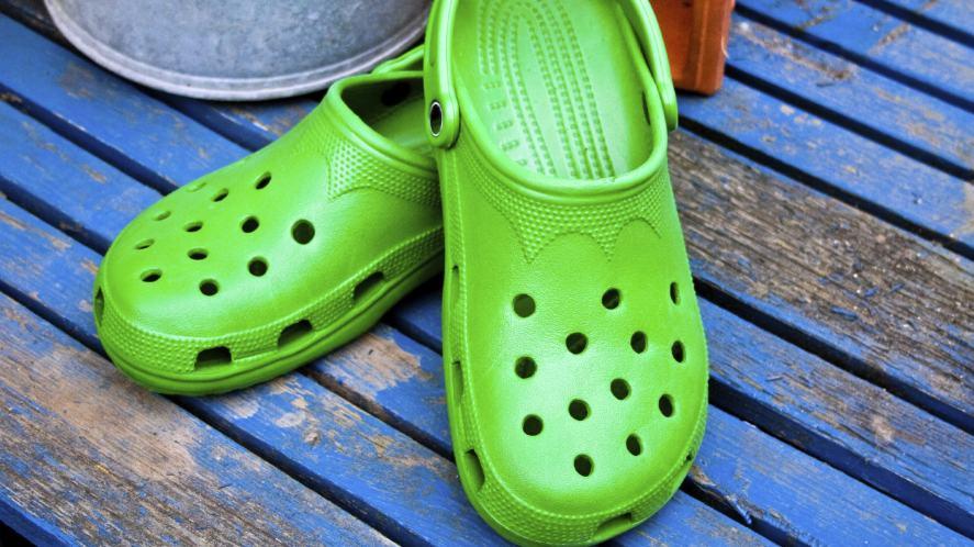 A pair of bright green crocs