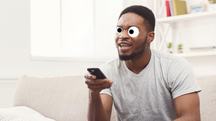 A man watching tv