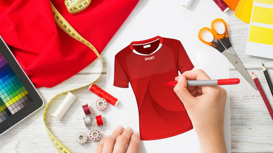 An image of a fashion designer creating a football shirt