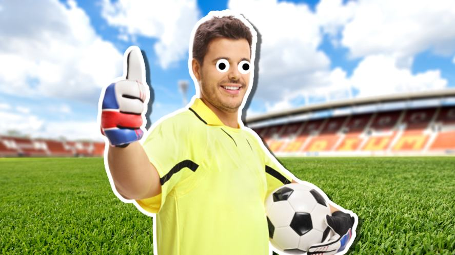 A goalkeeper giving the thumbs up because of your stylish choices