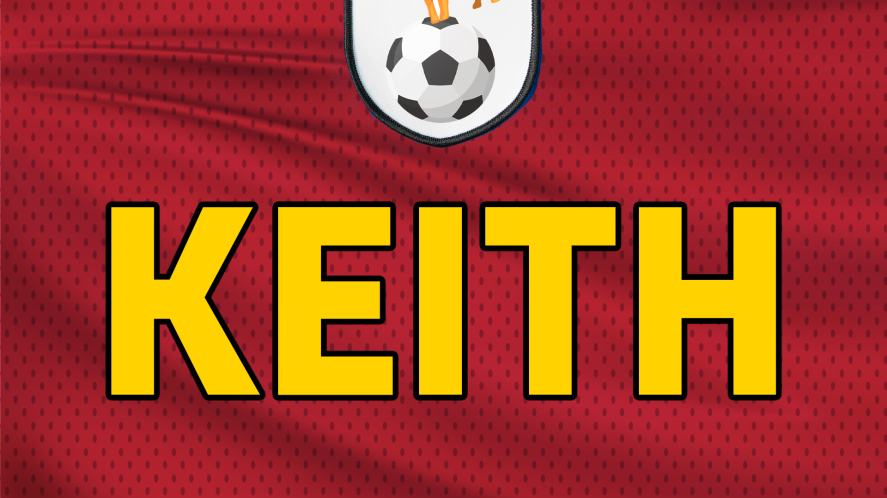 A football shirt bearing the name of the team's sponsor – Keith!