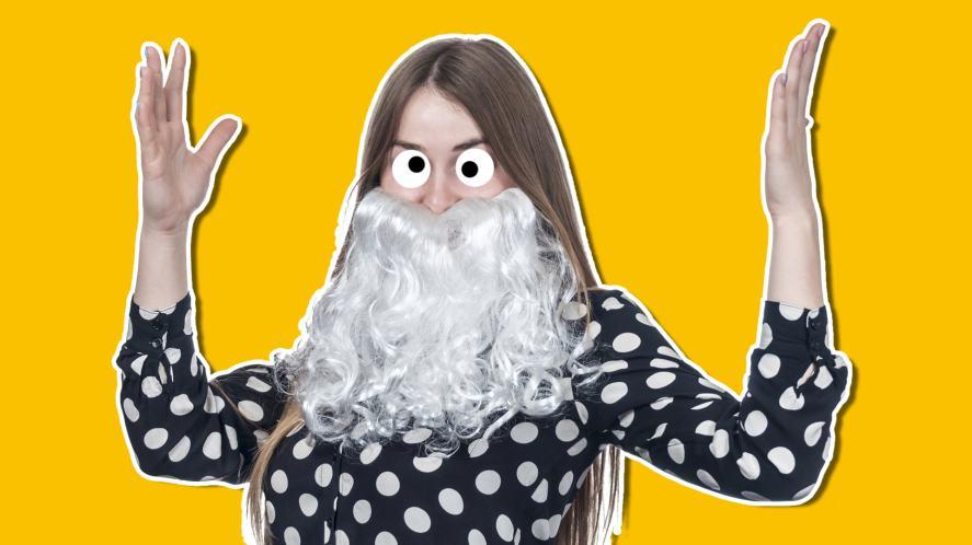 A woman wearing a fake beard