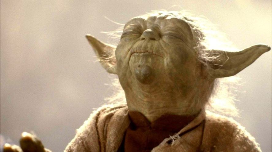 Yoda smelling something delicious, like a space biscuit
