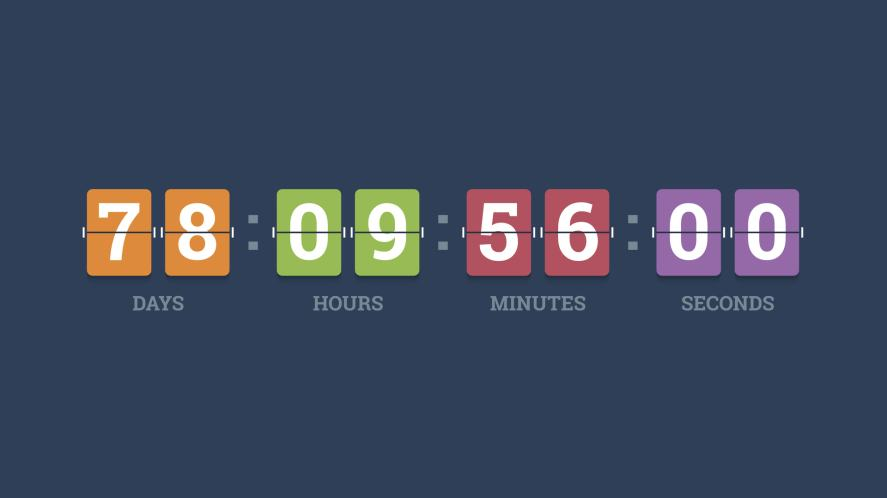 A timer showing days, hours, minutes