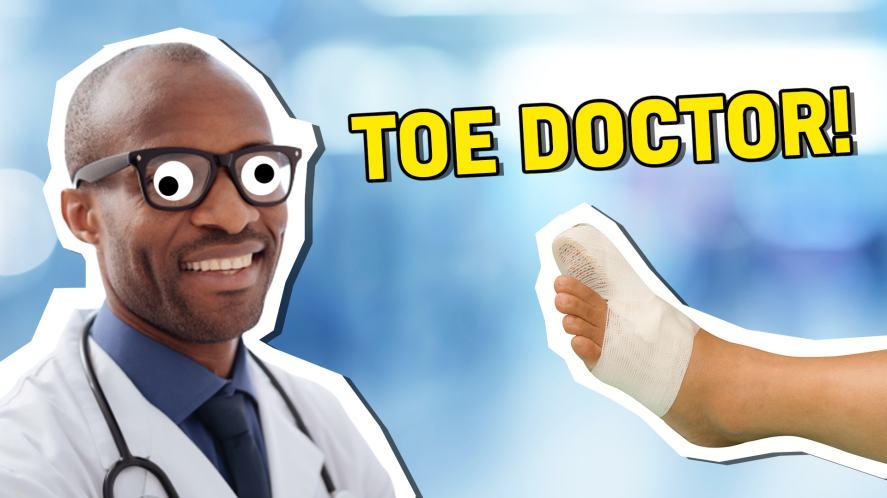 A toe doctor examining a big bandaged foot