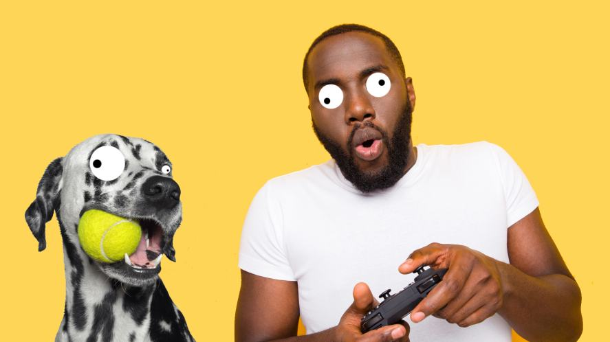 A man and dog enjoy a video game