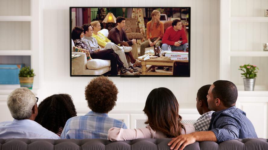 Friends watching Friends on TV