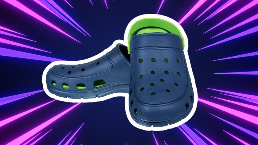 A pair of dark blue and green Crocs