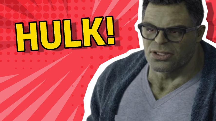 Hulk wearing a cardigan and glasses