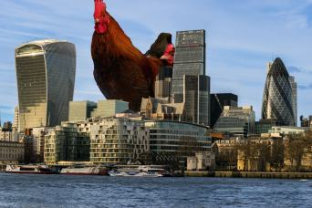 Chicken towering over London