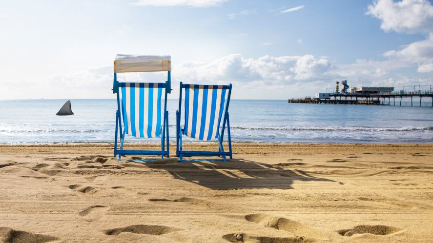 Some deckchairs on the beach, with a shark nearby