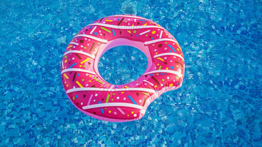 A pool float in the shape of a donut