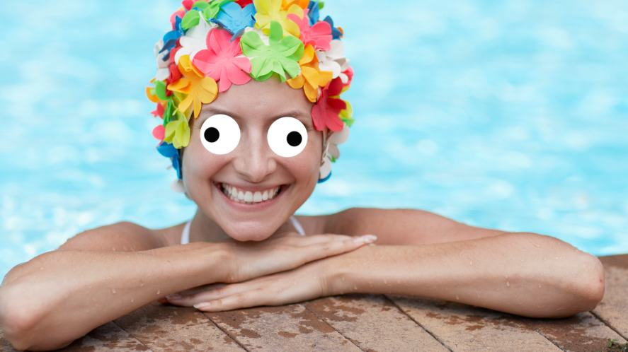 A flowery swimming cap