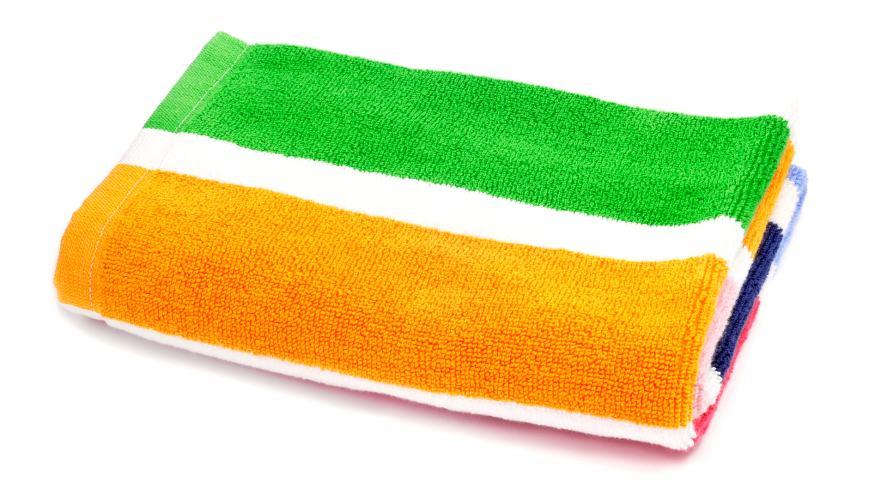 A colourful beach towel