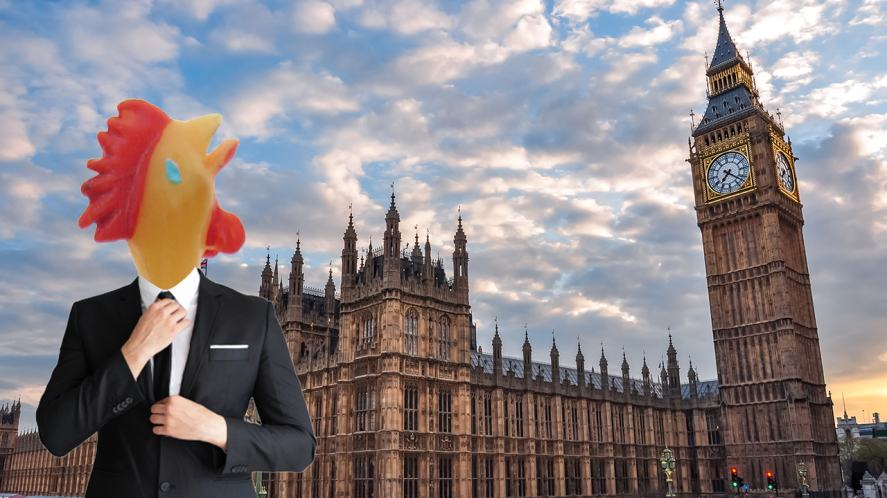A rubber chicken pretending to be a politician outside the Houses of Parliament