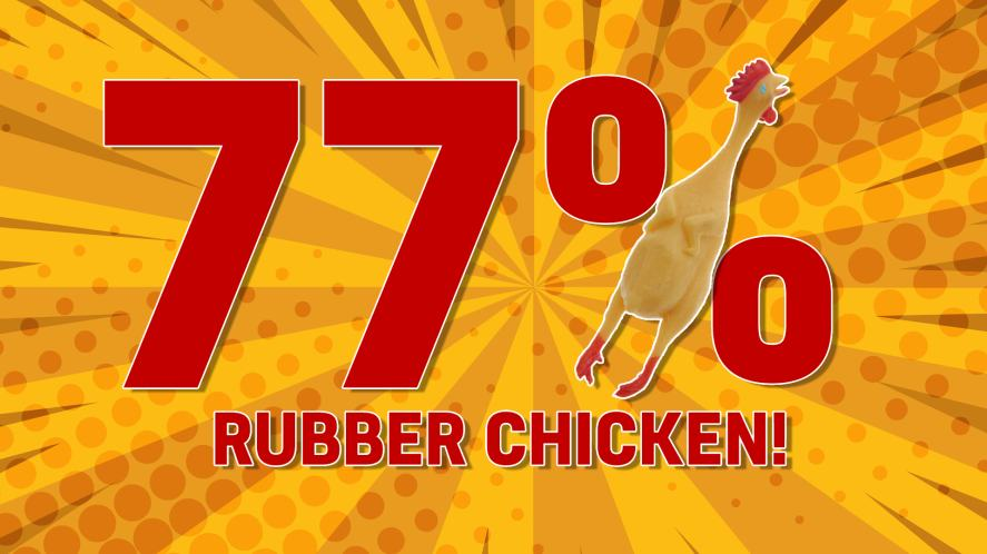 You are: 77% RUBBER CHICKEN!