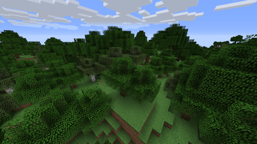 A forest in Minecraft