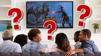 A family watching Jurassic Park