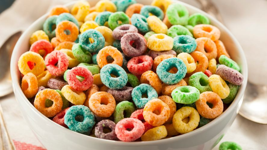 A bowl of colourful cereal