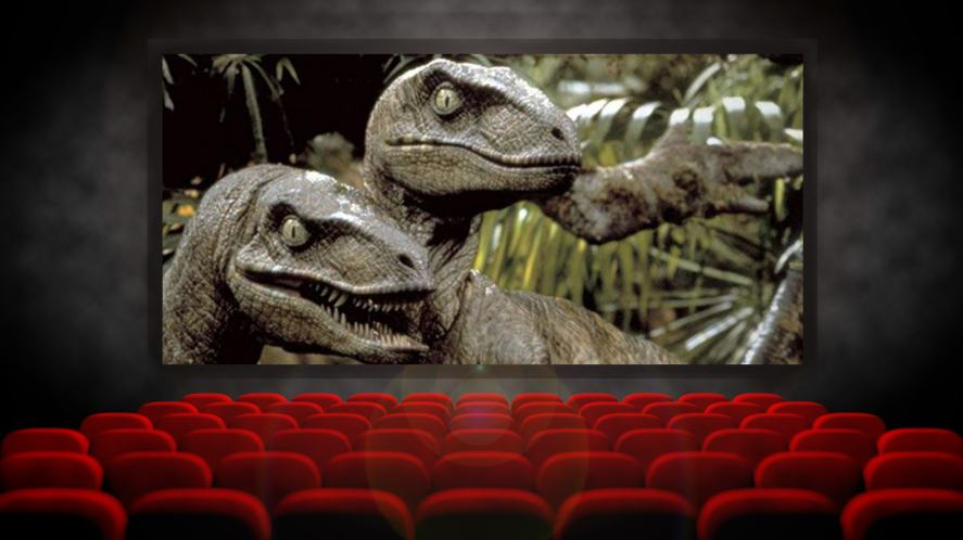 Jurassic Park playing on a big cinema screen