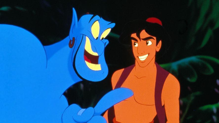 The Genie and Aladdin in the original Disney Film