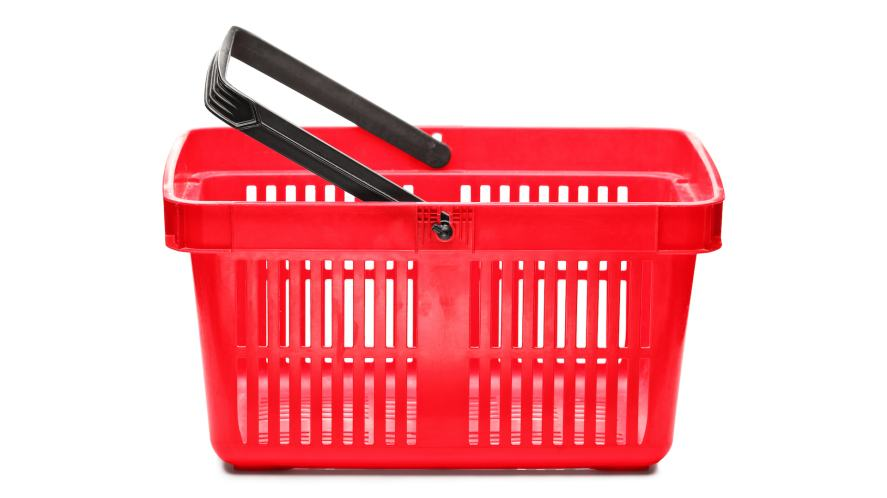A red plastic shopping basket