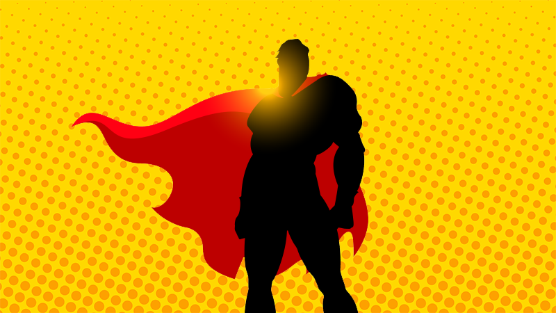 A silhouette of Superman