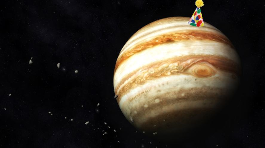 Jupiter in a party hat