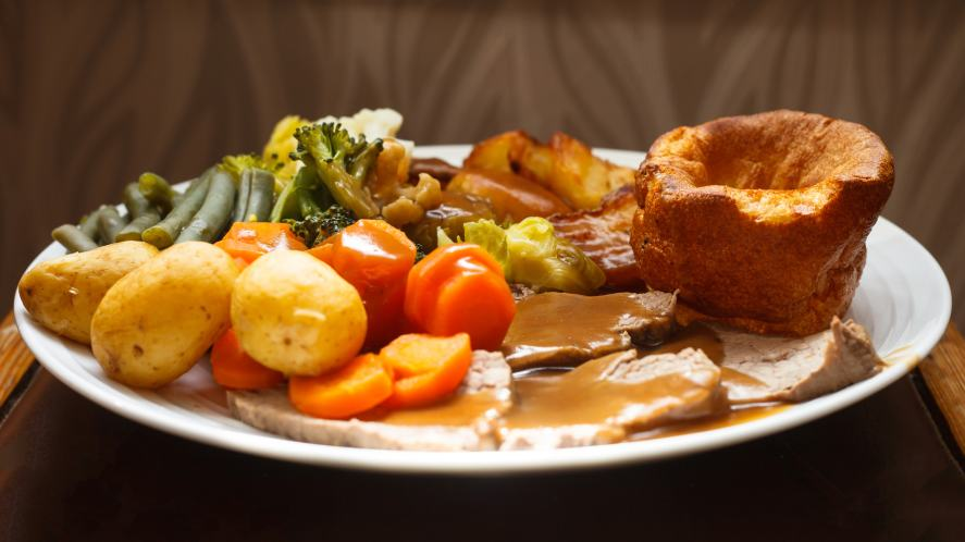 Roast beef dinner with Yorkshire pudding