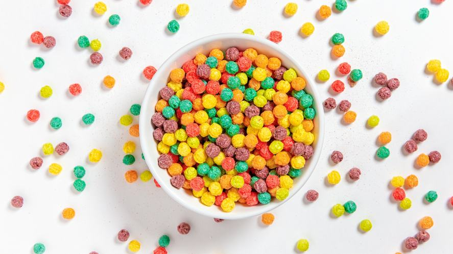 Colourful breakfast cereal