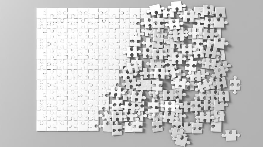A blank jigsaw puzzle