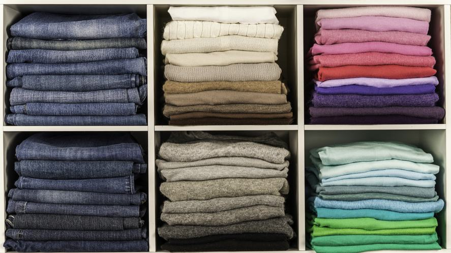 Neatly stored clothes