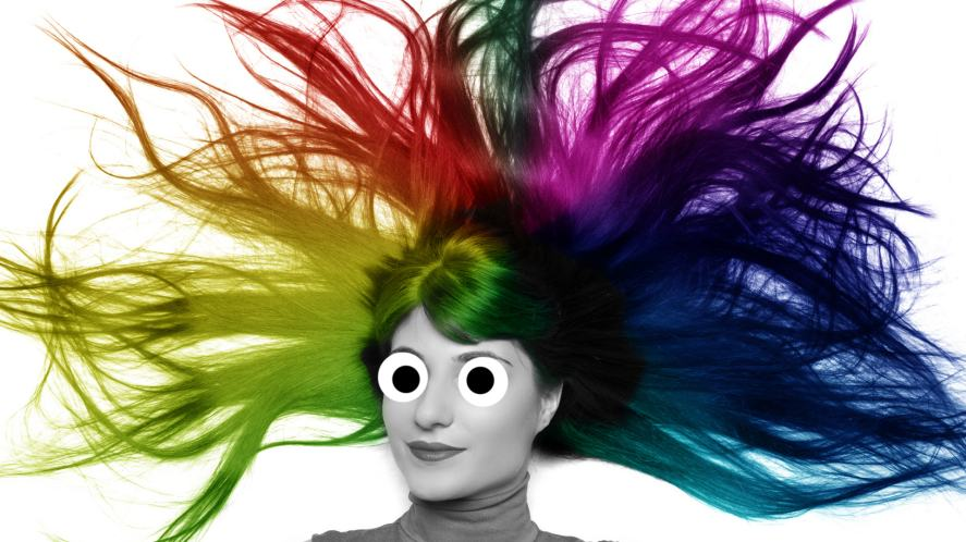 A woman with multi-coloured hair