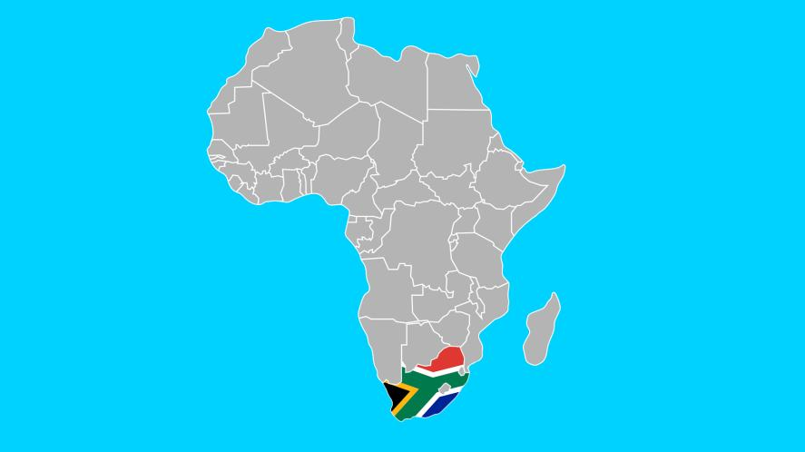 A map of Africa, with South Africa highlighted