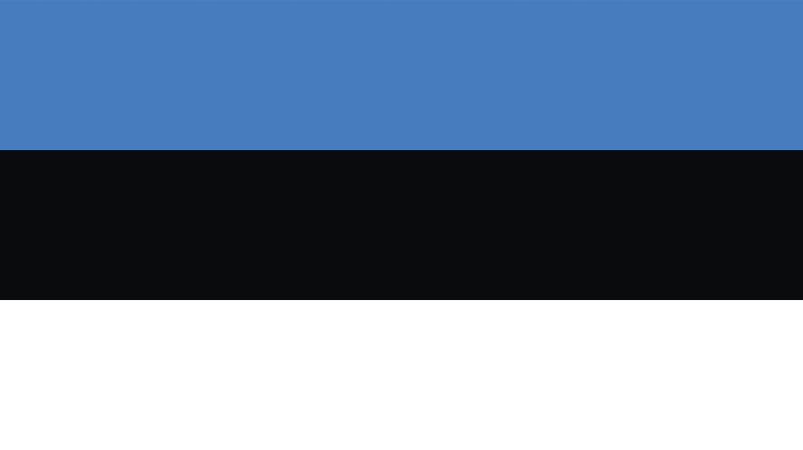 A blue, black and white striped flag