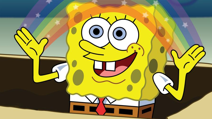 SpongeBob SquarePants creates a rainbow