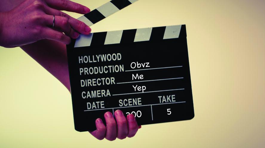 A movie clapperboard