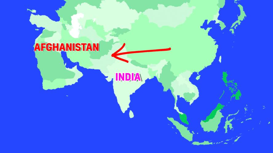 Which country is between Afghanistan and India?